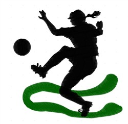 Girl Kicking Soccer Ball embroidery design