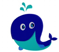 Happy Whale embroidery design