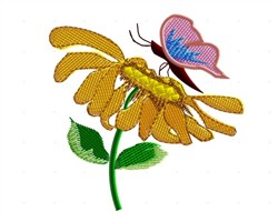Flower With Butterfly embroidery design