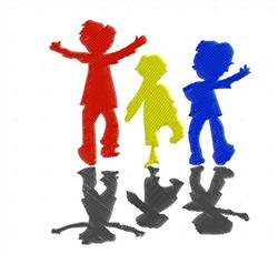 Colorful Kids Silhouette embroidery design
