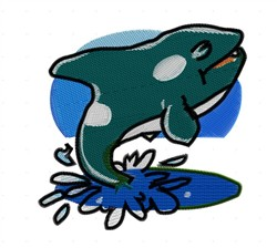 Splashing Whale embroidery design