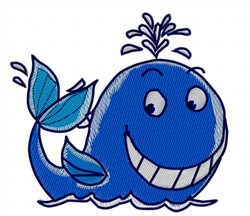 Smiling Whale embroidery design