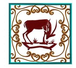 Framed Gazelle embroidery design