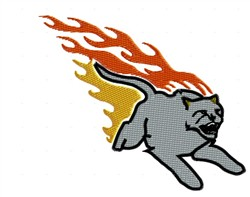 Firey Cougar embroidery design