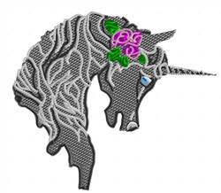 Unicorn with Rose embroidery design