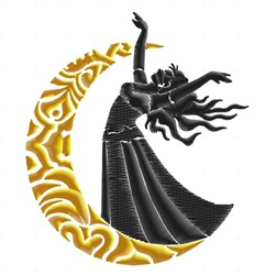 Dancer On Moon embroidery design