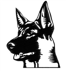 German Shepherd Head embroidery design