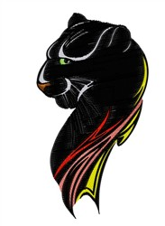 Flaming Black Panther embroidery design