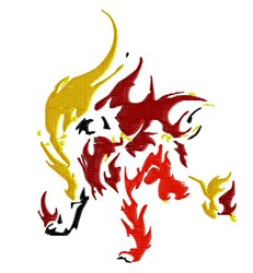 Flaming Wolf embroidery design