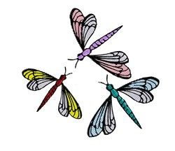 Three Dragonflies embroidery design