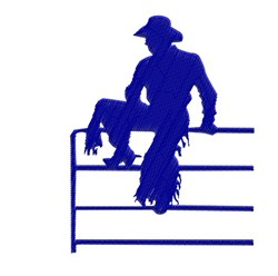 Cowboy On Gate embroidery design