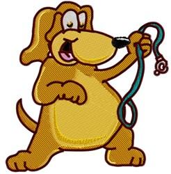 Dog Holding Leash embroidery design