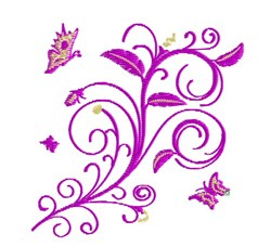 Flower With Butterflies embroidery design