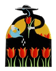 Lady Watering Tulips embroidery design
