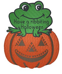 Frog On Pumpkin embroidery design