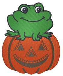 Frog On Pumpkin embroidery design