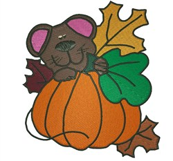 Teddy And Pumpkin embroidery design