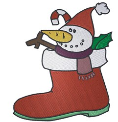 Stocking With Snowman embroidery design