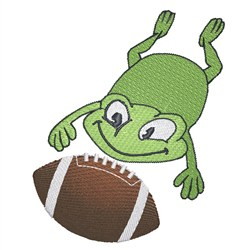 Frog Catching Football embroidery design