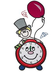 New Years Clock embroidery design