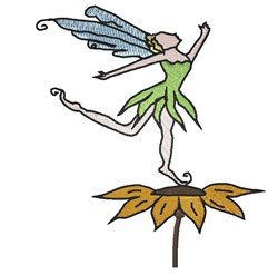 Fairy On  Sunflower embroidery design