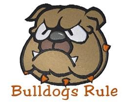 Bulldogs Rule embroidery design