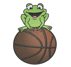 Frog On Basketball embroidery design