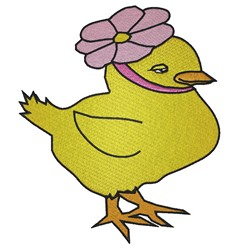 Chick Wearing Flower embroidery design