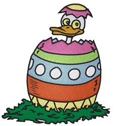 Duck In Easter Egg embroidery design