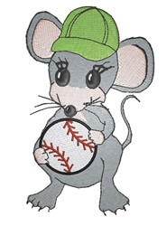 Mouse With Baseball embroidery design