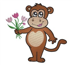 Monkey With Flowers embroidery design