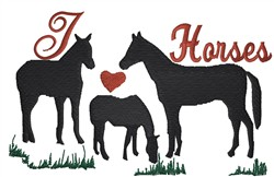 I Love Horses embroidery design