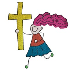 Girl With Easter Cross embroidery design
