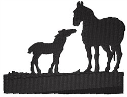 Mare And Foal Silhouette embroidery design