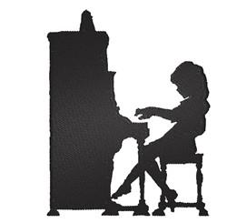 Piano Player Silhouette embroidery design