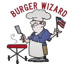 Burger Wizard embroidery design