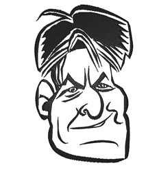 Charlie Sheen Caricature embroidery design