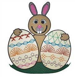 Bunny With Eggs embroidery design