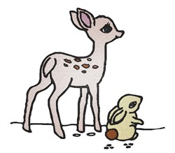 Fawn With Rabbit embroidery design