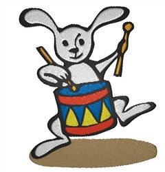 Bunny Drumming embroidery design