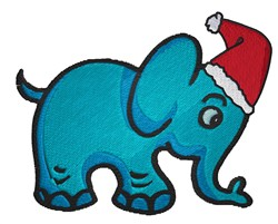 Elephant with Santa Hat embroidery design
