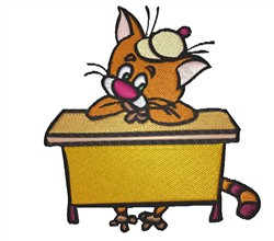 Cat In School embroidery design