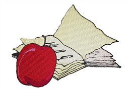 Book And Apple embroidery design