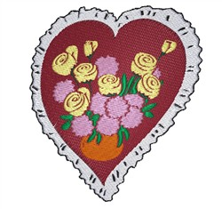 Heart And Flowers embroidery design