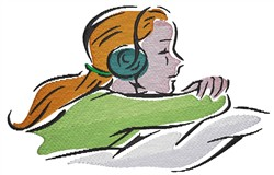 Girl With Headphones embroidery design
