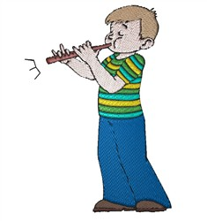 Boy Playing Flute embroidery design