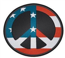 American Peace Sign embroidery design