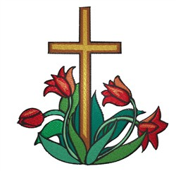 Cross With Tulips embroidery design