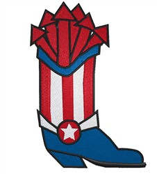 Patriotic Cowboy Boot embroidery design
