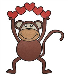 Monkey With Hearts embroidery design